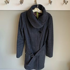 Soia & Kyo wool blend grey herringbone belted coat